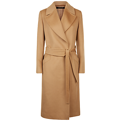 Wool Wrap Coat - pattern: plain; collar: wide lapels; length: on the knee; style: wrap around; predominant colour: camel; occasions: casual, creative work; fit: tailored/fitted; fibres: wool - 100%; waist detail: belted waist/tie at waist/drawstring; sleeve length: long sleeve; sleeve style: standard; collar break: medium; pattern type: fabric; texture group: woven bulky/heavy; wardrobe: basic; season: a/w 2016