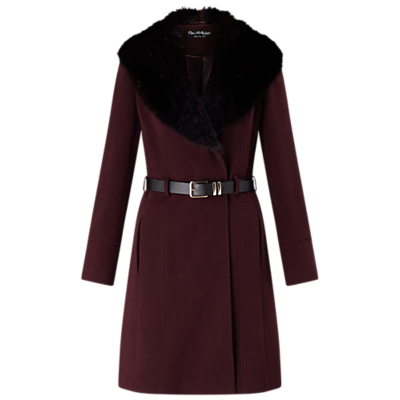 Fit And Flare Coat, Burgundy - style: wrap around; length: mid thigh; predominant colour: burgundy; secondary colour: black; occasions: casual, creative work; fit: tailored/fitted; fibres: wool - mix; waist detail: belted waist/tie at waist/drawstring; sleeve length: long sleeve; sleeve style: standard; collar: fur; collar break: medium; pattern type: fabric; pattern: colourblock; texture group: woven bulky/heavy; embellishment: fur; season: a/w 2016; wardrobe: highlight