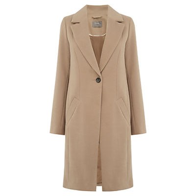 Kimberly Car Coat. Mid Neutral - pattern: plain; style: single breasted; collar: standard lapel/rever collar; predominant colour: nude; occasions: work, creative work; fit: tailored/fitted; fibres: polyester/polyamide - stretch; length: below the knee; sleeve length: long sleeve; sleeve style: standard; collar break: medium; pattern type: fabric; texture group: woven bulky/heavy; wardrobe: investment; season: a/w 2016