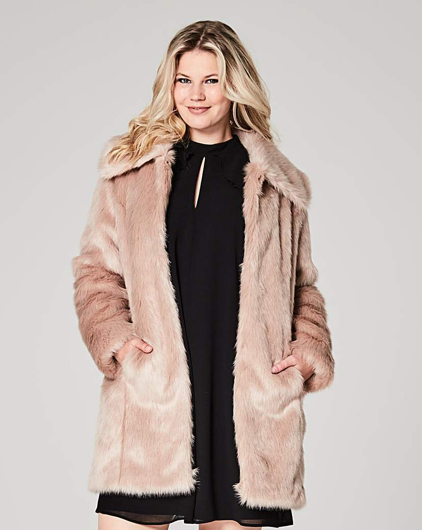 Champagne Faux Fur Coat - pattern: plain; collar: wide lapels; style: single breasted; fit: slim fit; length: mid thigh; predominant colour: champagne; occasions: evening, occasion; fibres: acrylic - mix; sleeve length: long sleeve; sleeve style: standard; texture group: fur; collar break: medium; pattern type: fabric; season: a/w 2016