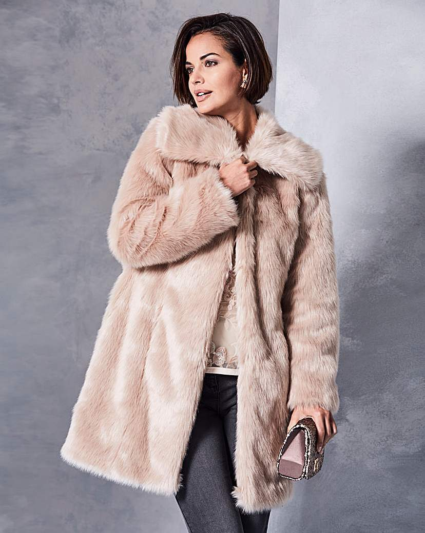 Champagne Faux Fur Coat - pattern: plain; length: below the bottom; collar: wide lapels; fit: loose; predominant colour: champagne; occasions: casual; fibres: acrylic - mix; style: fur coat; sleeve length: long sleeve; sleeve style: standard; texture group: fur; collar break: high; pattern type: fabric; season: a/w 2016; wardrobe: highlight