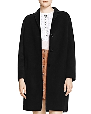 Wool Coat - pattern: plain; collar: round collar/collarless; style: single breasted; length: mid thigh; predominant colour: black; occasions: work, creative work; fit: straight cut (boxy); fibres: wool - mix; sleeve length: long sleeve; sleeve style: standard; collar break: medium; pattern type: fabric; texture group: woven bulky/heavy; wardrobe: investment; season: a/w 2016