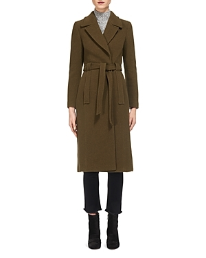 Evangeline Belted Coat - pattern: plain; style: single breasted; fit: slim fit; collar: standard lapel/rever collar; predominant colour: khaki; occasions: casual; fibres: wool - mix; length: below the knee; waist detail: belted waist/tie at waist/drawstring; sleeve length: long sleeve; sleeve style: standard; collar break: medium; pattern type: fabric; texture group: woven bulky/heavy; wardrobe: basic; season: a/w 2016