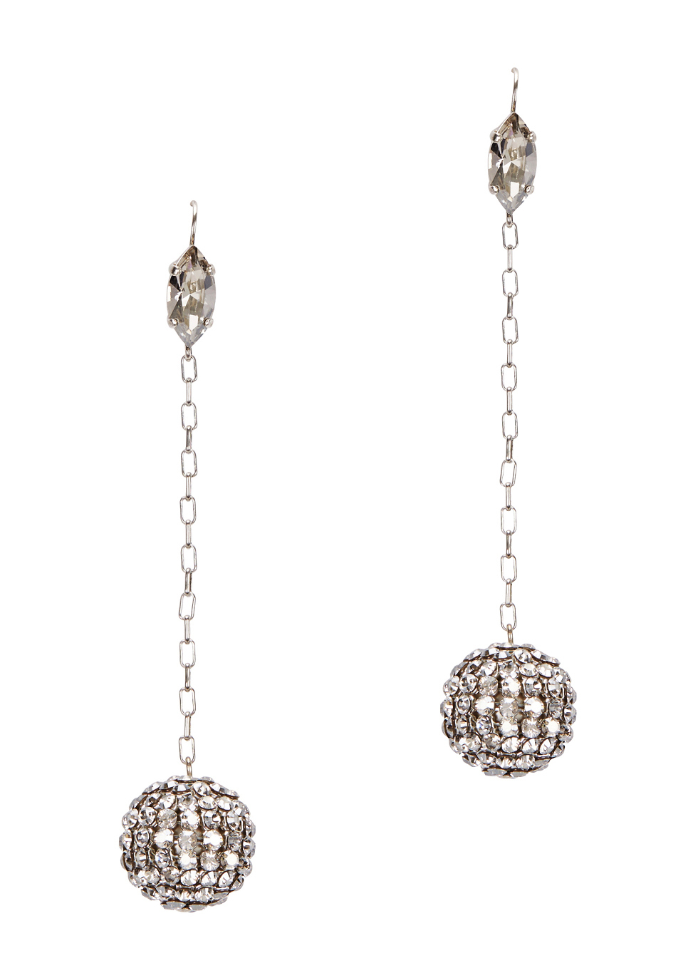Silver Tone Crystal Embellished Drop Earrings - predominant colour: silver; occasions: evening, occasion; style: drop; length: long; size: standard; material: chain/metal; fastening: pierced; finish: plain; embellishment: crystals/glass; season: a/w 2016; wardrobe: event