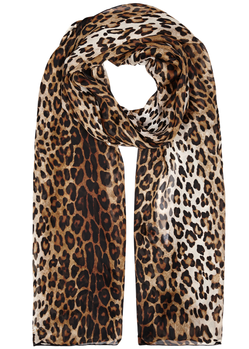 Leopard Print Silk Chiffon Scarf - predominant colour: camel; secondary colour: black; occasions: evening, work; type of pattern: standard; style: regular; size: standard; material: silk; pattern: animal print; season: a/w 2016; wardrobe: highlight