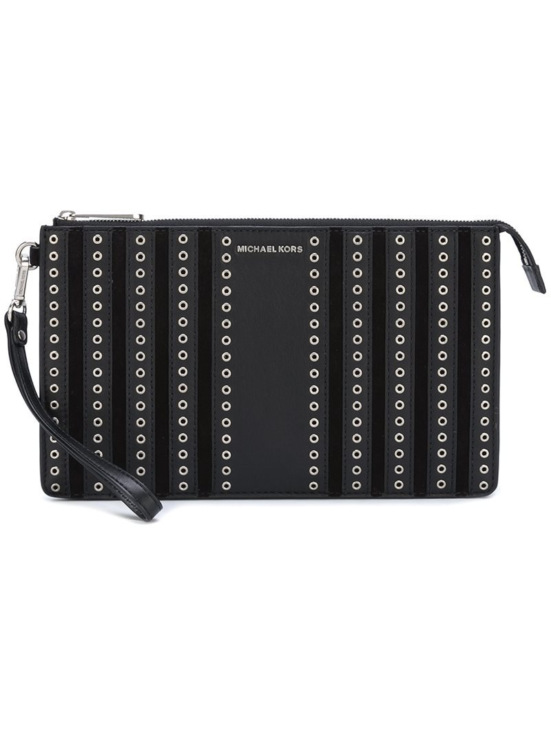 Medium 'brooklyn' Wristlet Clutch, Women's, Black - predominant colour: black; occasions: evening; type of pattern: light; style: grab bag; length: hand carry; size: small; material: leather; finish: plain; pattern: patterned/print; embellishment: chain/metal; season: a/w 2016; wardrobe: event