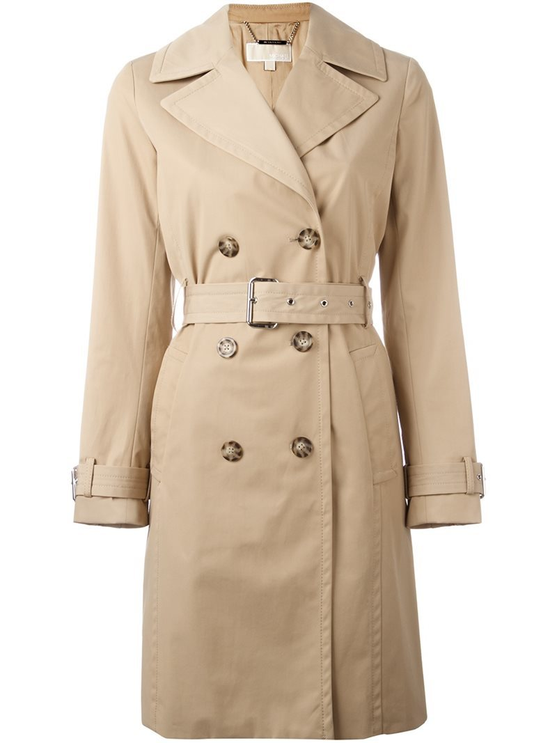 Midi Trench Coat, Women's, Nude/Neutrals - pattern: plain; collar: wide lapels; style: trench coat; length: mid thigh; predominant colour: nude; occasions: casual; fit: tailored/fitted; fibres: cotton - mix; waist detail: belted waist/tie at waist/drawstring; sleeve length: long sleeve; sleeve style: standard; collar break: medium; pattern type: fabric; texture group: woven light midweight; wardrobe: basic; season: a/w 2016