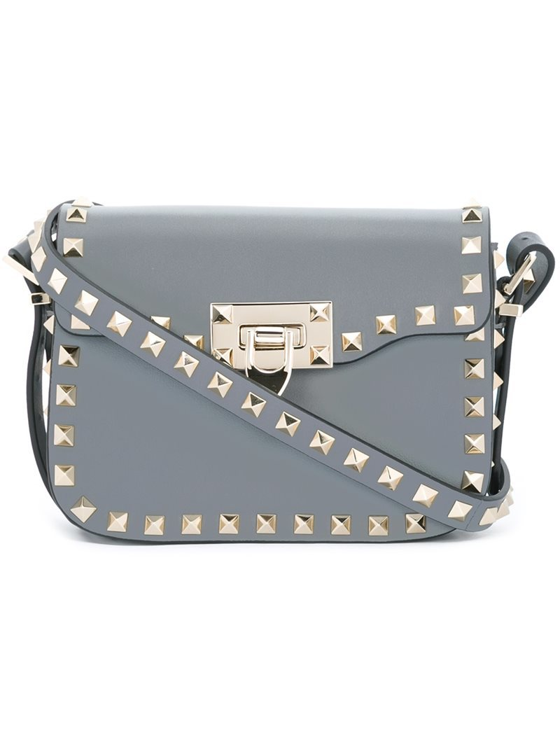 'rockstud' Shoulder Bag, Women's, Grey - predominant colour: mid grey; occasions: casual, creative work; type of pattern: light; style: shoulder; length: shoulder (tucks under arm); size: small; material: leather; embellishment: studs; pattern: plain; finish: plain; wardrobe: investment; season: a/w 2016