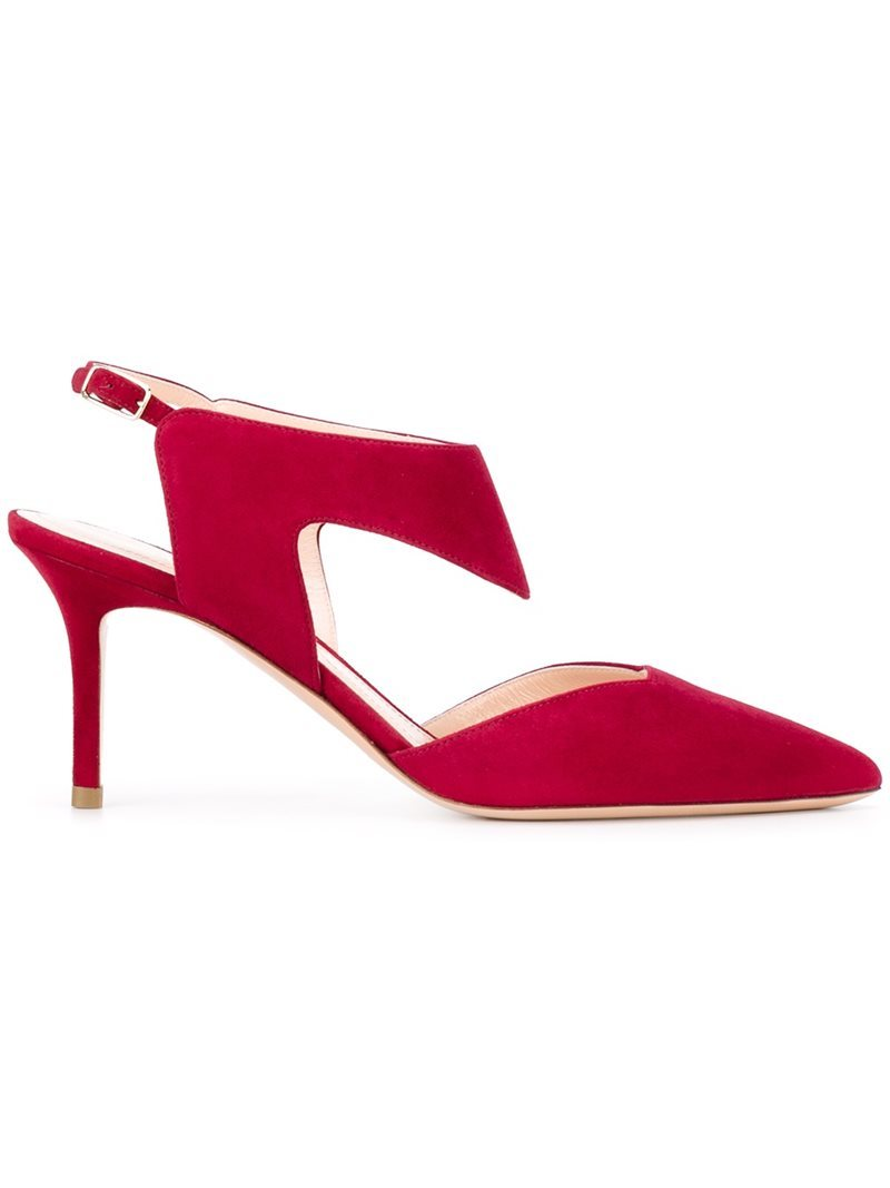 'leda' Pumps, Women's, Pink/Purple - predominant colour: true red; occasions: evening, occasion; material: suede; heel height: high; ankle detail: ankle strap; heel: stiletto; toe: pointed toe; style: slingbacks; finish: plain; pattern: plain; season: a/w 2016; wardrobe: event