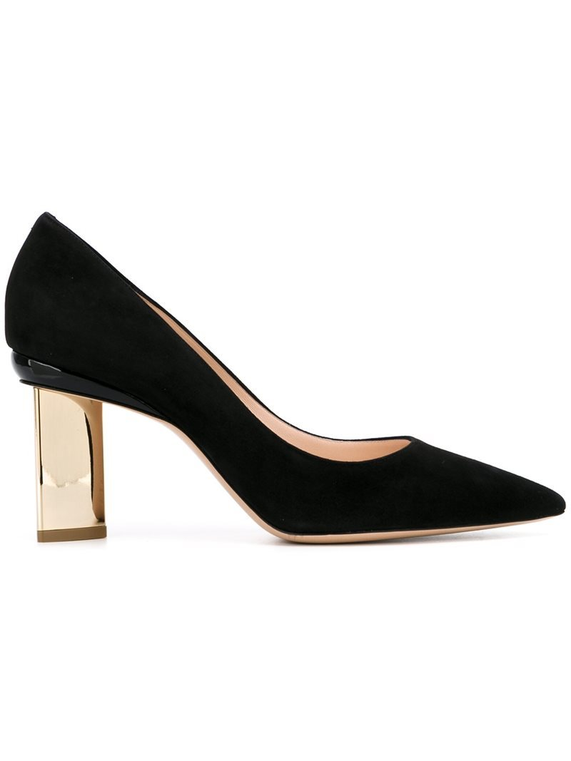 'prism' Pumps, Women's, Black - secondary colour: gold; predominant colour: black; occasions: evening, occasion; material: suede; heel height: high; heel: block; toe: pointed toe; style: courts; finish: plain; pattern: plain; season: a/w 2016; wardrobe: event