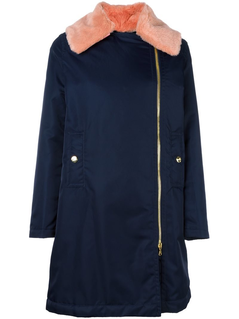 Collar Detail Coat, Women's, Blue - pattern: plain; fit: loose; style: parka; length: mid thigh; secondary colour: pink; predominant colour: navy; occasions: casual; fibres: polyester/polyamide - mix; sleeve length: long sleeve; sleeve style: standard; texture group: technical outdoor fabrics; collar: fur; collar break: high; pattern type: fabric; embellishment: fur; multicoloured: multicoloured; season: a/w 2016; wardrobe: highlight; embellishment location: neck