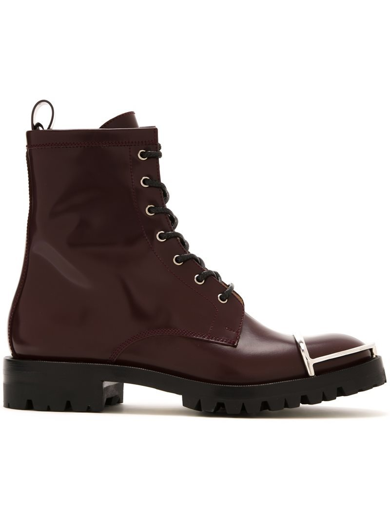 'lyndon' Boots, Women's, Red - predominant colour: burgundy; occasions: casual, creative work; material: leather; heel height: mid; heel: block; toe: round toe; boot length: ankle boot; finish: plain; pattern: plain; style: lace ups; season: a/w 2016