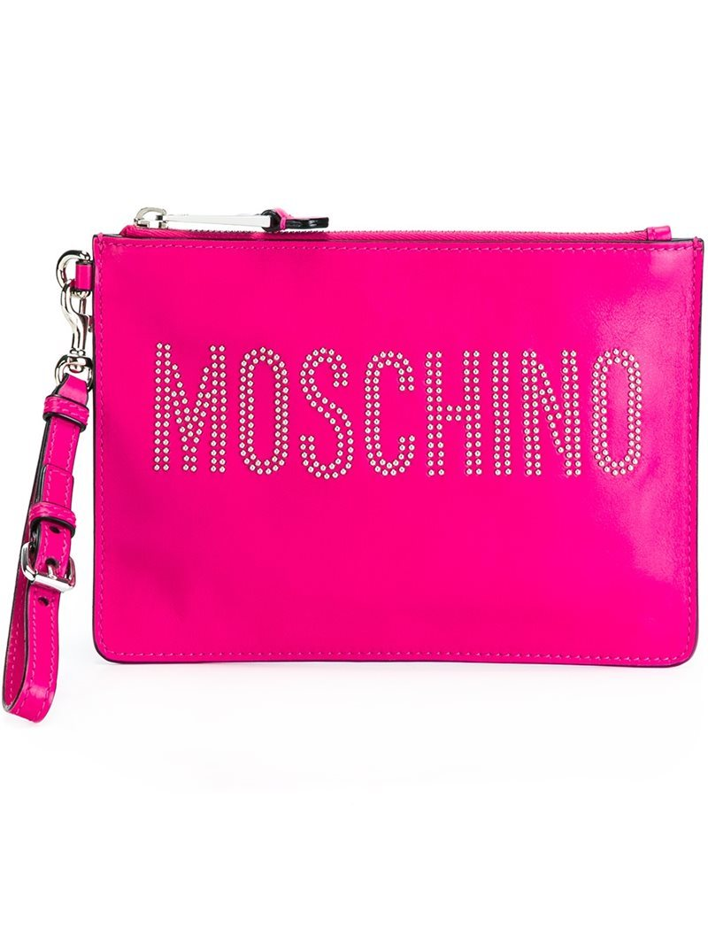 Studded Logo Clutch, Women's, Pink/Purple - predominant colour: hot pink; occasions: evening, occasion; type of pattern: light; style: grab bag; length: hand carry; size: standard; material: leather; embellishment: studs; pattern: plain; finish: plain; season: a/w 2016; wardrobe: event
