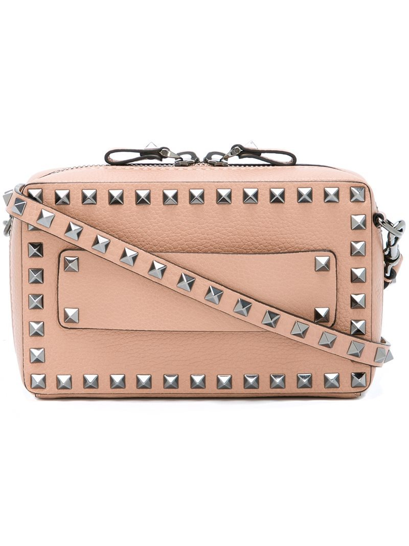 'rockstud' Zip Around Shoulder Bag, Women's, Nude/Neutrals - predominant colour: nude; occasions: casual, creative work; type of pattern: standard; style: messenger; length: across body/long; size: small; material: leather; embellishment: studs; pattern: plain; finish: plain; season: a/w 2016; wardrobe: highlight