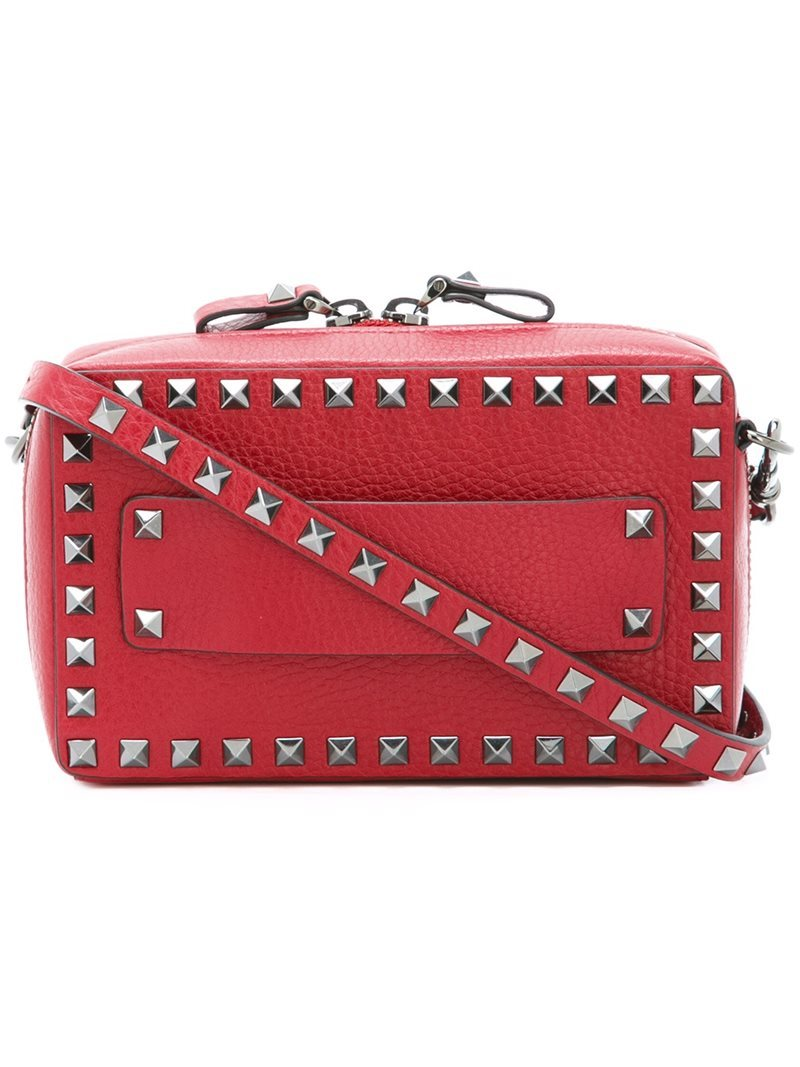 'rockstud' Zip Around Shoulder Bag, Women's, Red - predominant colour: true red; occasions: casual, creative work; type of pattern: light; style: messenger; length: shoulder (tucks under arm); size: standard; material: leather; embellishment: studs; pattern: plain; finish: plain; season: a/w 2016; wardrobe: highlight
