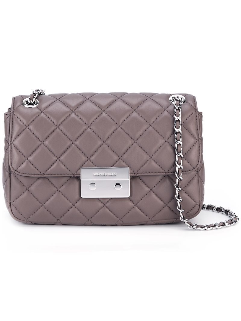 Large 'sloan' Shoulder Bag, Women's, Grey - predominant colour: mid grey; occasions: casual, creative work; type of pattern: light; style: shoulder; length: shoulder (tucks under arm); size: standard; material: leather; embellishment: quilted; pattern: plain; finish: plain; wardrobe: investment; season: a/w 2016
