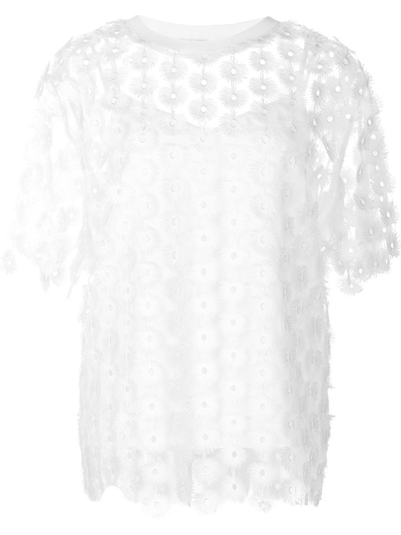 Floral Lace Blouse, Women's, White - neckline: round neck; style: blouse; predominant colour: white; occasions: casual, creative work; length: standard; fibres: polyester/polyamide - 100%; fit: body skimming; sleeve length: half sleeve; sleeve style: standard; texture group: sheer fabrics/chiffon/organza etc.; pattern type: fabric; pattern size: standard; pattern: patterned/print; embellishment: lace; season: a/w 2016