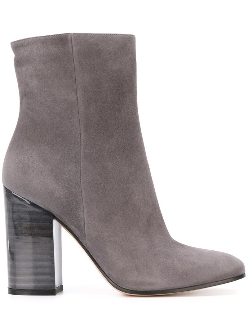 Chunky Heel Ankle Boots, Women's, Grey - predominant colour: mid grey; occasions: casual; material: suede; heel height: high; heel: block; toe: round toe; boot length: ankle boot; style: standard; finish: plain; pattern: plain; season: a/w 2016; wardrobe: highlight