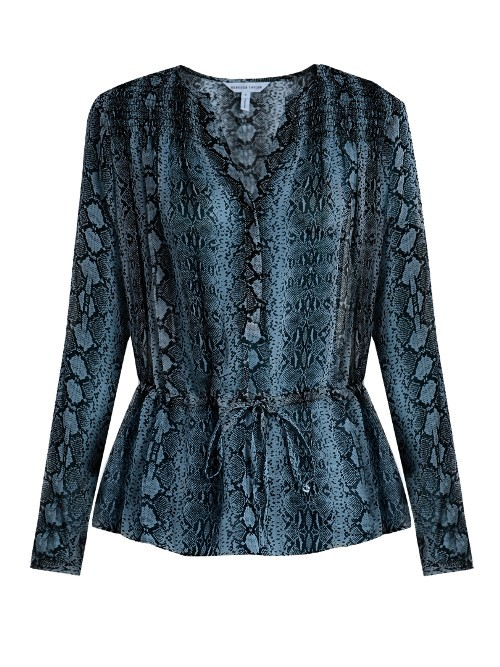 Drawstring Waist Snake Print Silk Blouse - neckline: v-neck; style: blouse; waist detail: belted waist/tie at waist/drawstring; secondary colour: pale blue; predominant colour: navy; occasions: casual; length: standard; fibres: silk - 100%; fit: body skimming; sleeve length: long sleeve; sleeve style: standard; texture group: crepes; pattern type: fabric; pattern: patterned/print; pattern size: big & busy (top); season: a/w 2016; wardrobe: highlight