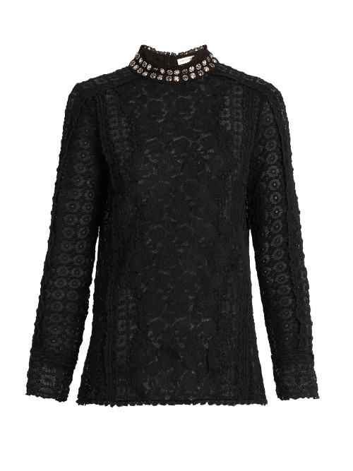 Embellished Collar Floral Lace Blouse - neckline: high neck; style: blouse; predominant colour: black; occasions: evening; length: standard; fibres: cotton - 100%; fit: body skimming; sleeve length: long sleeve; sleeve style: standard; texture group: lace; pattern type: fabric; pattern: patterned/print; embellishment: jewels/stone; season: a/w 2016; wardrobe: event; embellishment location: neck