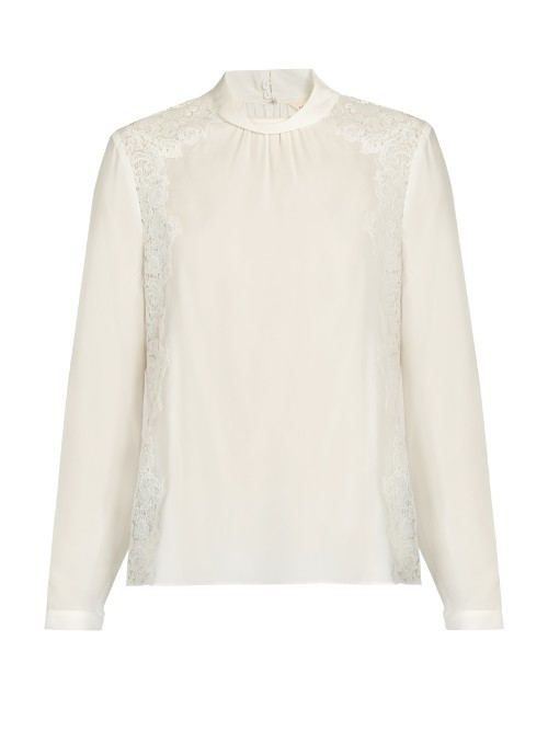 Lace Panel Silk Blouse - pattern: plain; neckline: high neck; style: blouse; predominant colour: white; occasions: evening; length: standard; fibres: silk - 100%; fit: body skimming; sleeve length: long sleeve; sleeve style: standard; texture group: silky - light; pattern type: fabric; embellishment: lace; season: a/w 2016; wardrobe: event