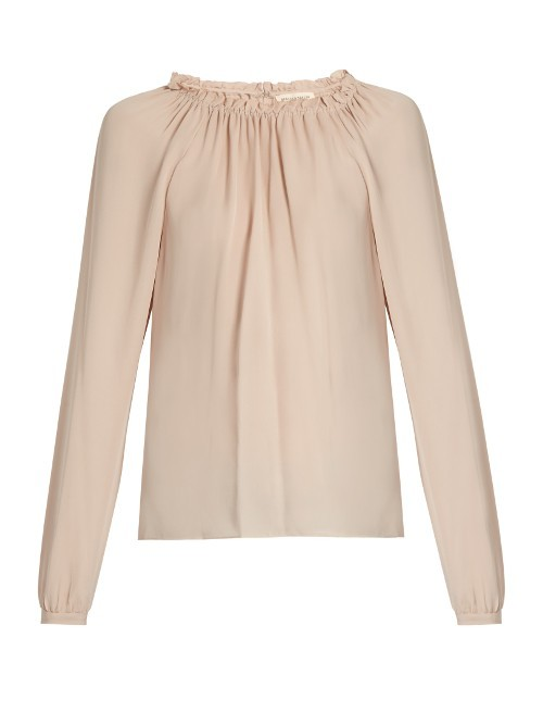 Ruffled Neckline Silk Blouse - pattern: plain; neckline: high neck; style: blouse; predominant colour: blush; occasions: casual, creative work; length: standard; fibres: silk - 100%; fit: body skimming; sleeve length: long sleeve; sleeve style: standard; texture group: silky - light; pattern type: fabric; wardrobe: basic; season: a/w 2016
