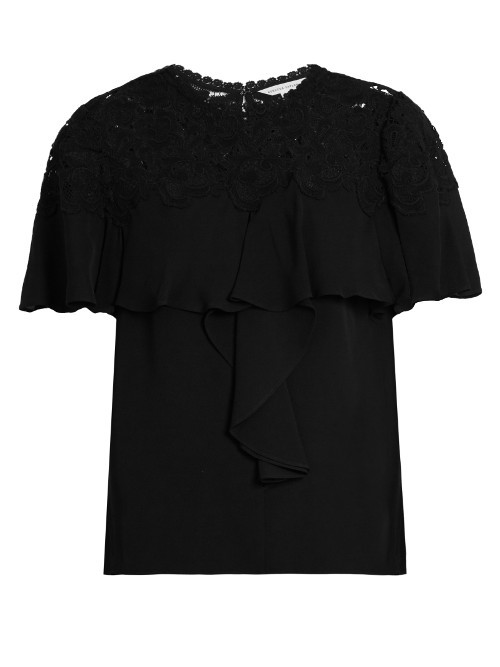 Guipure Lace Yoke Silk Georgette Top - pattern: plain; predominant colour: black; occasions: evening; length: standard; style: top; fibres: silk - 100%; fit: straight cut; neckline: crew; back detail: keyhole/peephole detail at back; sleeve length: short sleeve; sleeve style: standard; texture group: silky - light; pattern type: fabric; pattern size: standard; embellishment: lace; season: a/w 2016; wardrobe: event
