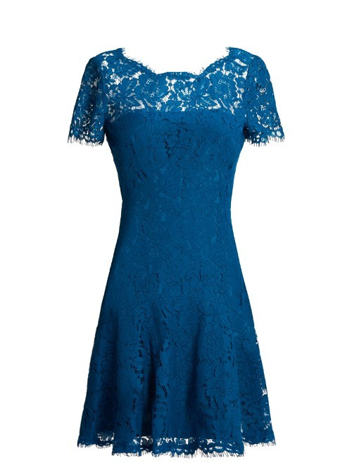 Fifi Dress - pattern: plain; bust detail: sheer at bust; predominant colour: royal blue; occasions: evening; length: just above the knee; fit: fitted at waist & bust; style: fit & flare; fibres: cotton - mix; neckline: crew; sleeve length: short sleeve; sleeve style: standard; texture group: lace; pattern type: fabric; season: a/w 2016; wardrobe: event