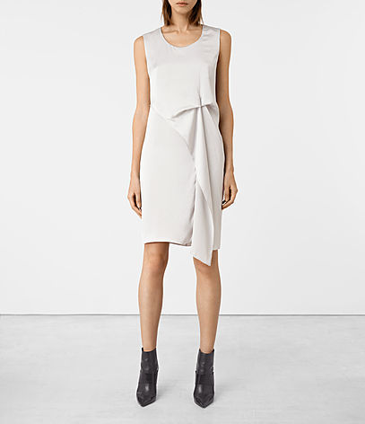 Ultra Dress - style: shift; pattern: plain; sleeve style: sleeveless; waist detail: twist front waist detail/nipped in at waist on one side/soft pleats/draping/ruching/gathering waist detail; predominant colour: white; occasions: evening; length: just above the knee; fit: body skimming; fibres: polyester/polyamide - 100%; neckline: crew; sleeve length: sleeveless; pattern type: fabric; texture group: jersey - stretchy/drapey; season: a/w 2016; wardrobe: event