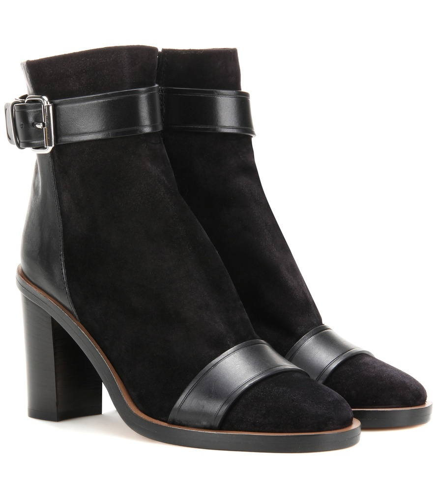 Gussie Suede And Leather Ankle Boots - predominant colour: black; occasions: casual; material: suede; heel height: high; embellishment: buckles; heel: block; toe: round toe; boot length: ankle boot; style: standard; finish: plain; pattern: plain; season: a/w 2016; wardrobe: highlight