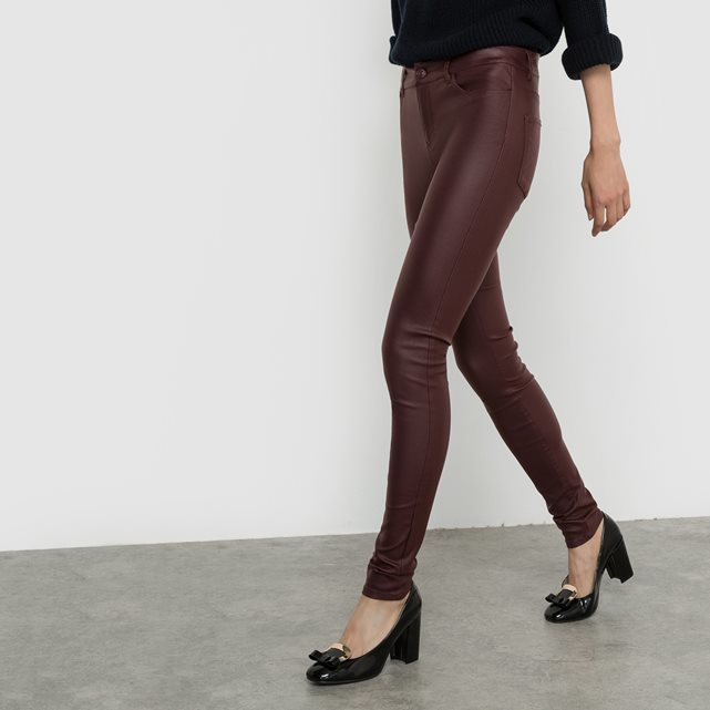Jeans, Length 30 - style: skinny leg; length: standard; pattern: plain; waist: mid/regular rise; predominant colour: aubergine; occasions: casual; fibres: cotton - stretch; texture group: waxed cotton; pattern type: fabric; season: a/w 2016; wardrobe: highlight