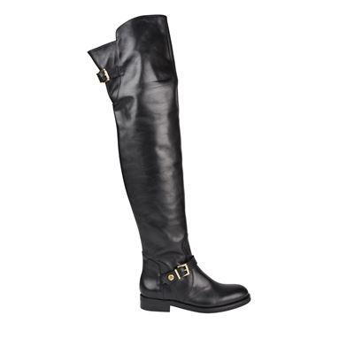 Rowland Knee High Leather Boots - predominant colour: black; occasions: casual, creative work; material: leather; heel height: flat; embellishment: buckles; heel: block; toe: round toe; boot length: over the knee; style: standard; finish: plain; pattern: plain; season: a/w 2016