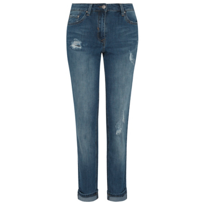 Distressed Effect Boyfriend Jeans Blue - style: boyfriend; length: standard; pattern: plain; pocket detail: traditional 5 pocket; waist: mid/regular rise; predominant colour: navy; occasions: casual; fibres: cotton - 100%; jeans detail: washed/faded, rips; texture group: denim; pattern type: fabric; wardrobe: basic; season: a/w 2016