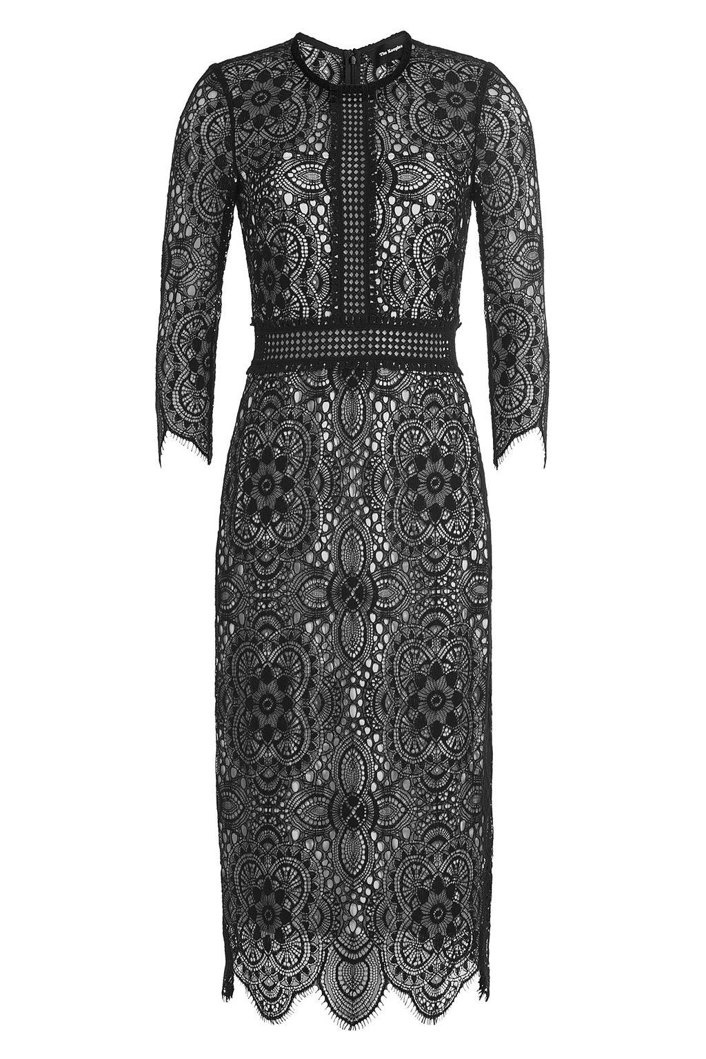 Lace Dress With Contrast Lining - style: shift; length: below the knee; pattern: plain; predominant colour: black; occasions: evening; fit: body skimming; fibres: cotton - mix; neckline: crew; sleeve length: 3/4 length; sleeve style: standard; texture group: lace; pattern type: fabric; season: a/w 2016; wardrobe: event