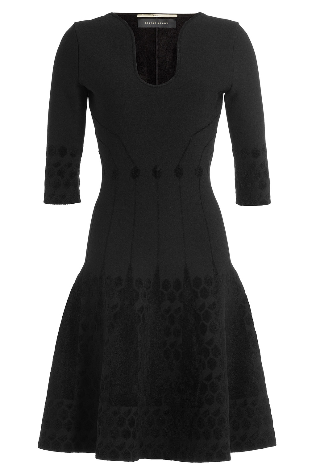 Dress With Flared Hem - neckline: v-neck; pattern: plain; predominant colour: black; occasions: evening; length: on the knee; fit: fitted at waist & bust; style: fit & flare; fibres: viscose/rayon - stretch; sleeve length: half sleeve; sleeve style: standard; pattern type: fabric; texture group: jersey - stretchy/drapey; season: a/w 2016; wardrobe: event