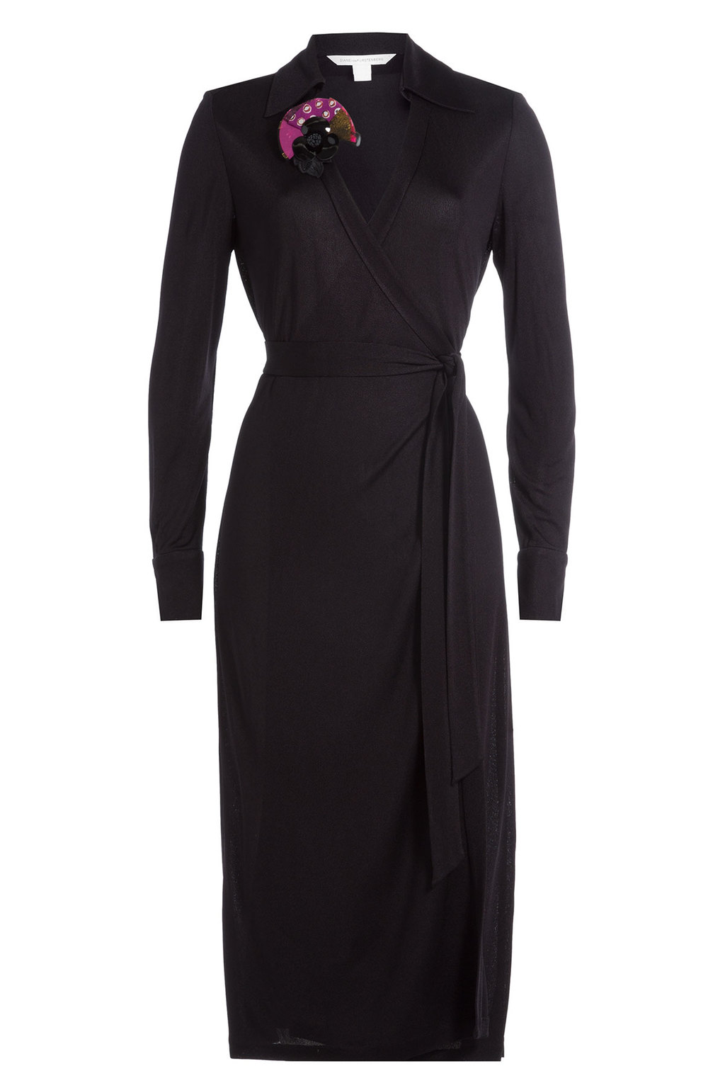 Wrap Dress With Printed Corsage Black - style: faux wrap/wrap; length: below the knee; neckline: shirt collar/peter pan/zip with opening; pattern: plain; waist detail: belted waist/tie at waist/drawstring; predominant colour: black; occasions: evening; fit: body skimming; fibres: viscose/rayon - 100%; sleeve length: long sleeve; sleeve style: standard; pattern type: fabric; texture group: jersey - stretchy/drapey; season: a/w 2016