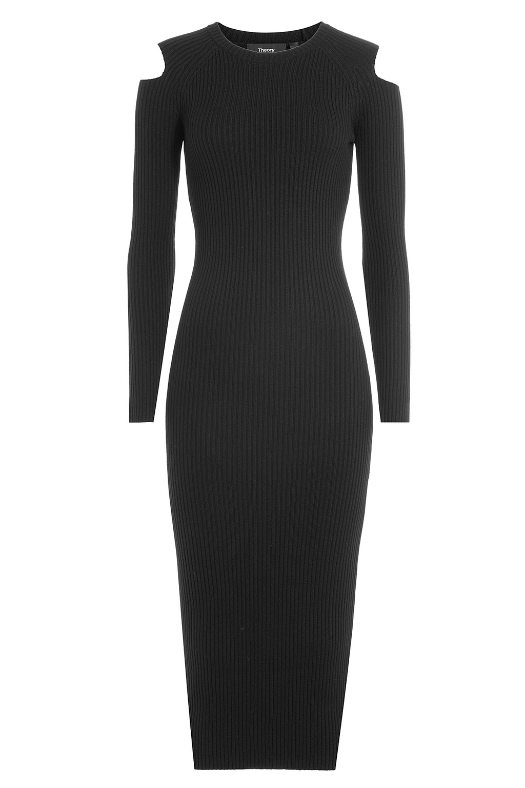 Wool Dress With Cut Out Shoulders - length: below the knee; fit: tight; pattern: plain; style: bodycon; predominant colour: black; occasions: evening; fibres: wool - mix; neckline: crew; shoulder detail: cut out shoulder; sleeve length: long sleeve; sleeve style: standard; texture group: jersey - clingy; pattern type: fabric; season: a/w 2016; wardrobe: event