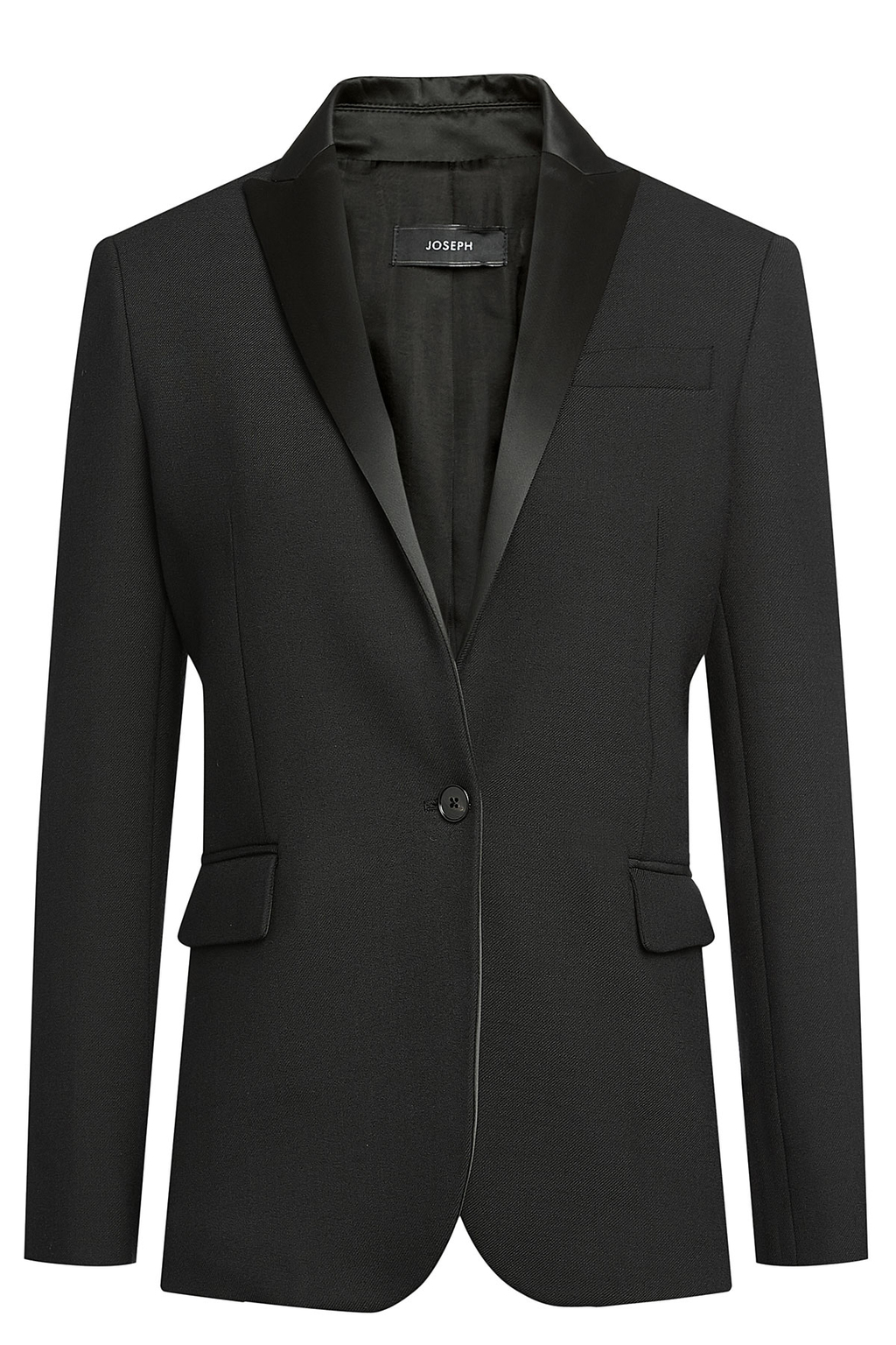 Blazer With Satin Lapels Black - pattern: plain; style: single breasted blazer; collar: standard lapel/rever collar; predominant colour: black; occasions: evening; length: standard; fit: tailored/fitted; fibres: polyester/polyamide - stretch; sleeve length: long sleeve; sleeve style: standard; collar break: medium; pattern type: fabric; texture group: woven light midweight; season: a/w 2016; wardrobe: event