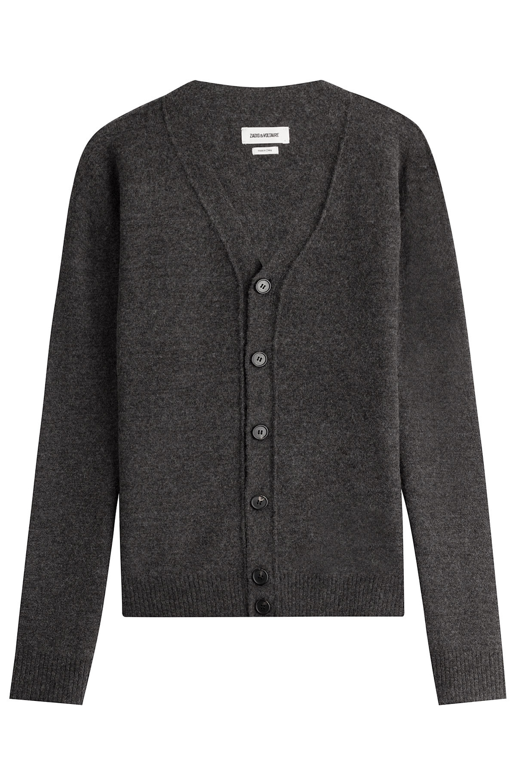 Cardigan With Wool And Yak - neckline: v-neck; pattern: plain; predominant colour: charcoal; occasions: casual; length: standard; style: standard; fibres: wool - 100%; fit: standard fit; sleeve length: long sleeve; sleeve style: standard; texture group: knits/crochet; pattern type: knitted - fine stitch; wardrobe: basic; season: a/w 2016