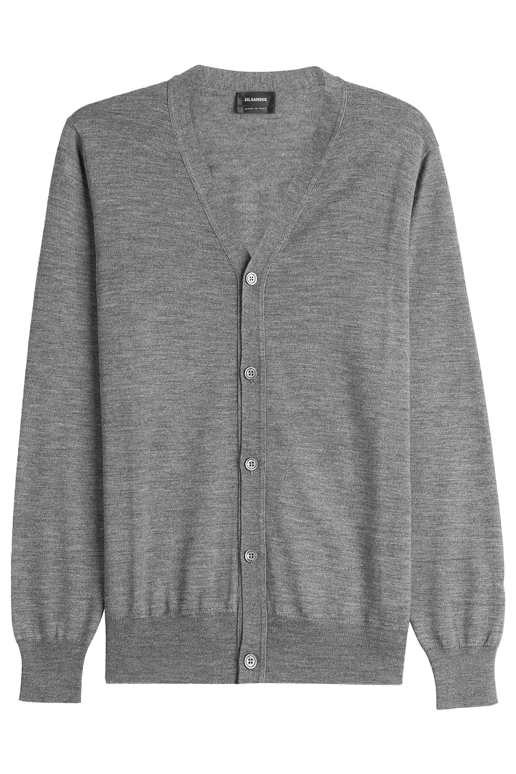 Wool Cardigan With Silk - neckline: v-neck; pattern: plain; predominant colour: mid grey; occasions: casual; length: standard; style: standard; fibres: wool - mix; fit: standard fit; sleeve length: long sleeve; sleeve style: standard; texture group: knits/crochet; pattern type: knitted - fine stitch; wardrobe: basic; season: a/w 2016
