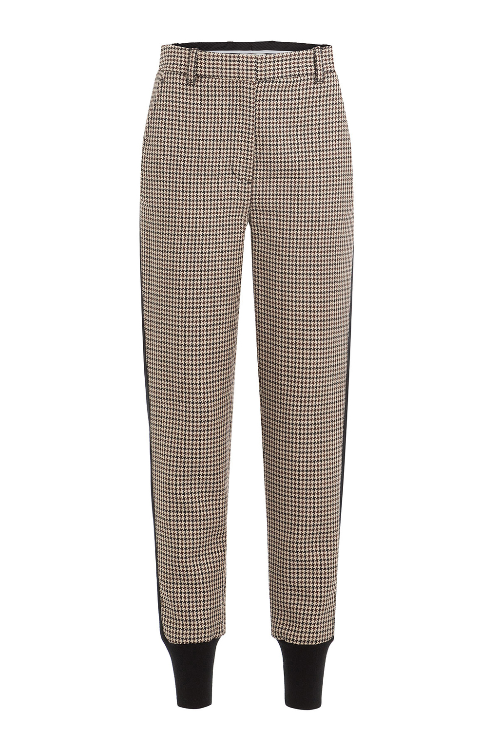 Printed Wool Pants With Cuffed Ankles - length: standard; pattern: plain; waist: mid/regular rise; predominant colour: stone; secondary colour: black; fibres: wool - mix; waist detail: feature waist detail; fit: tapered; pattern type: fabric; texture group: woven light midweight; style: standard; occasions: creative work; wardrobe: basic; season: a/w 2016