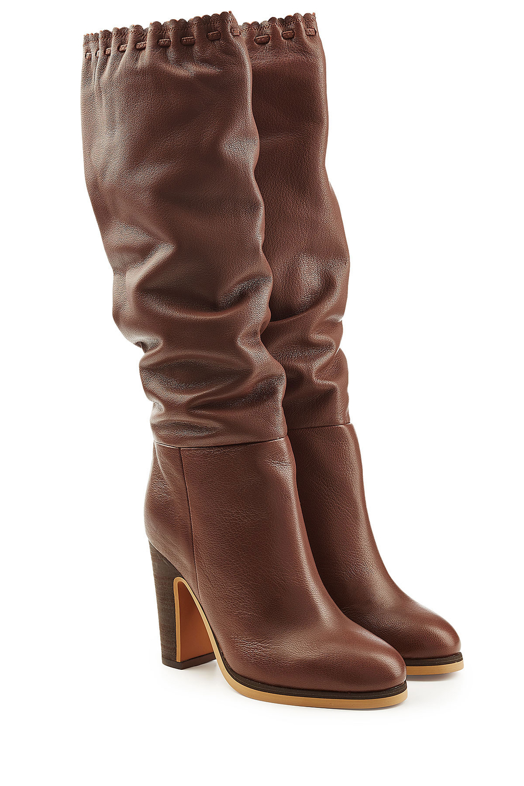 Leather Boots Black - predominant colour: tan; occasions: casual, creative work; material: leather; heel height: high; heel: block; toe: round toe; boot length: knee; style: standard; finish: plain; pattern: plain; season: a/w 2016