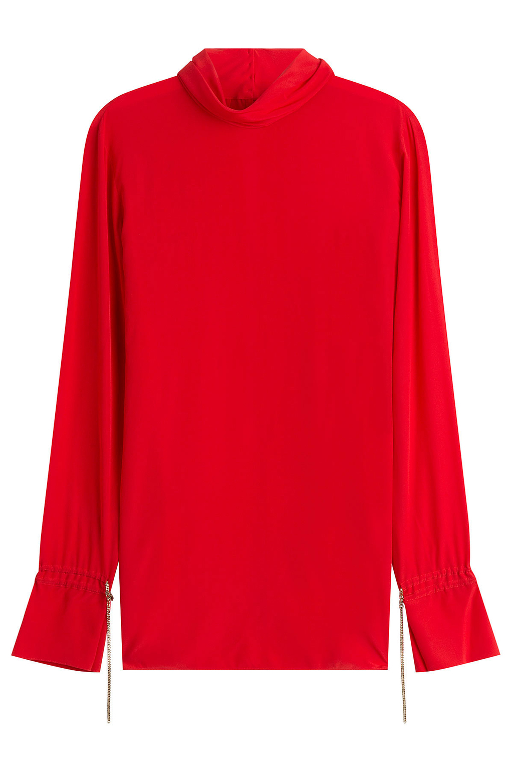 Silk Blouse With Chain Embellishment Red - pattern: plain; neckline: roll neck; style: blouse; predominant colour: true red; occasions: casual; length: standard; fibres: silk - 100%; fit: body skimming; sleeve length: long sleeve; sleeve style: standard; texture group: silky - light; pattern type: fabric; season: a/w 2016