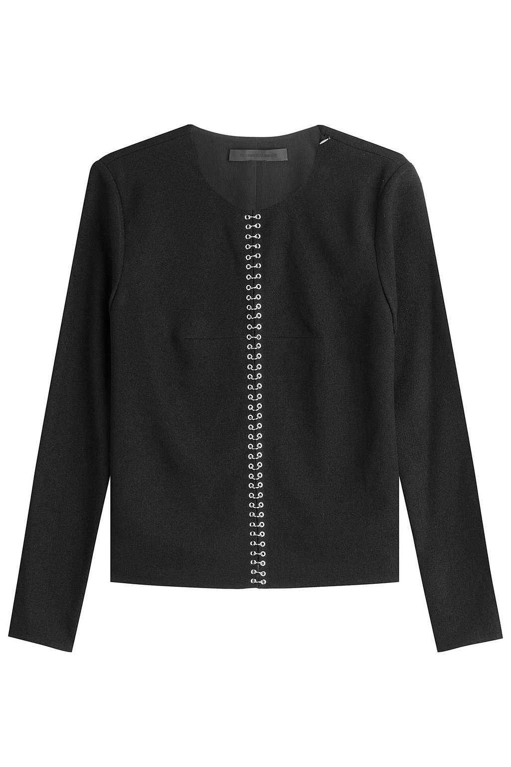 Crepe Top With Piercing Hardware - pattern: plain; style: blouse; predominant colour: black; occasions: evening; length: standard; fibres: cotton - 100%; fit: body skimming; neckline: crew; sleeve length: long sleeve; sleeve style: standard; texture group: crepes; pattern type: fabric; season: a/w 2016; wardrobe: event