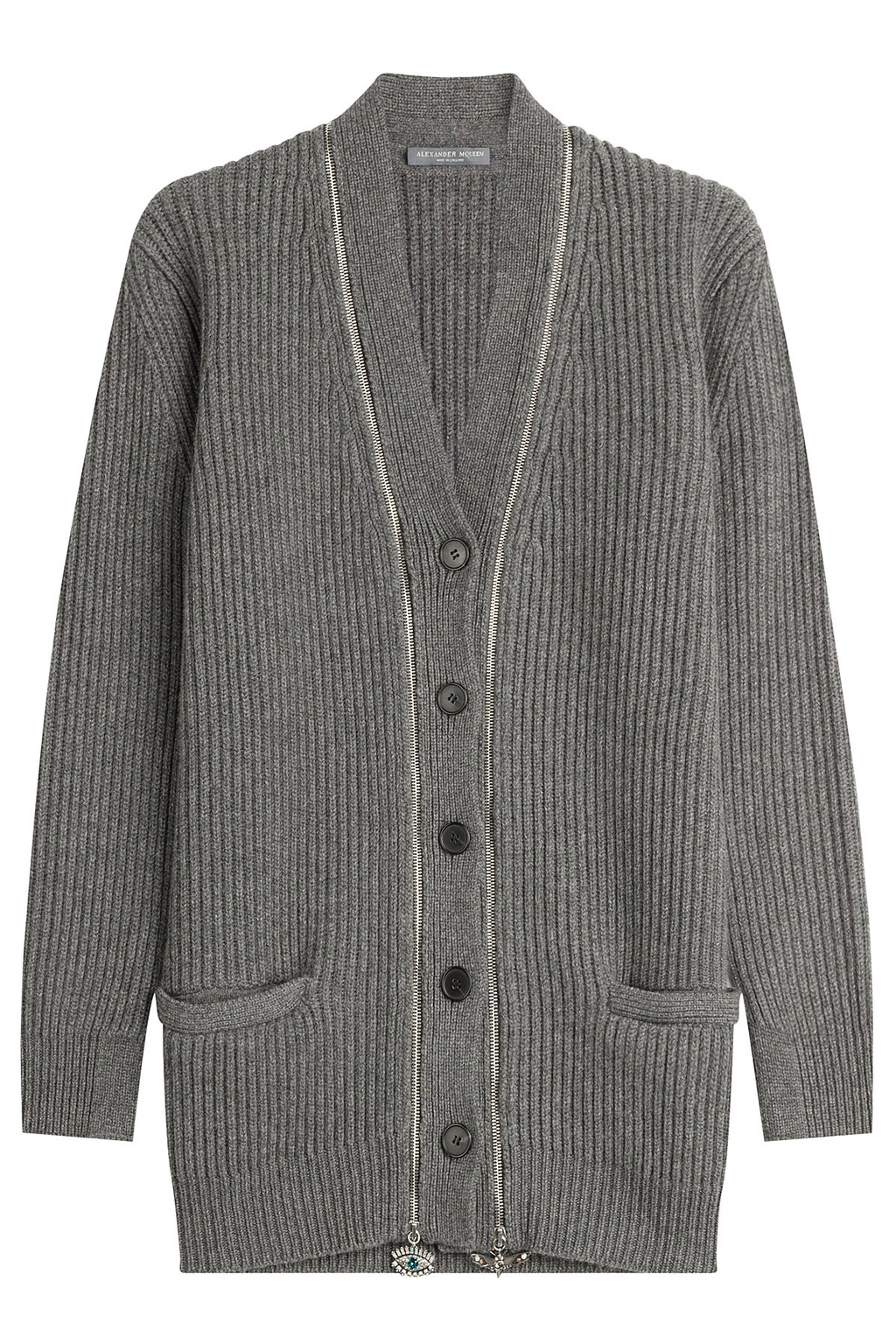 Cashmere Cardigan With Embellished Zippers Grey - neckline: v-neck; pattern: plain; predominant colour: mid grey; occasions: casual; length: standard; style: standard; fit: standard fit; fibres: cashmere - 100%; sleeve length: long sleeve; sleeve style: standard; texture group: knits/crochet; pattern type: knitted - fine stitch; wardrobe: investment; season: a/w 2016