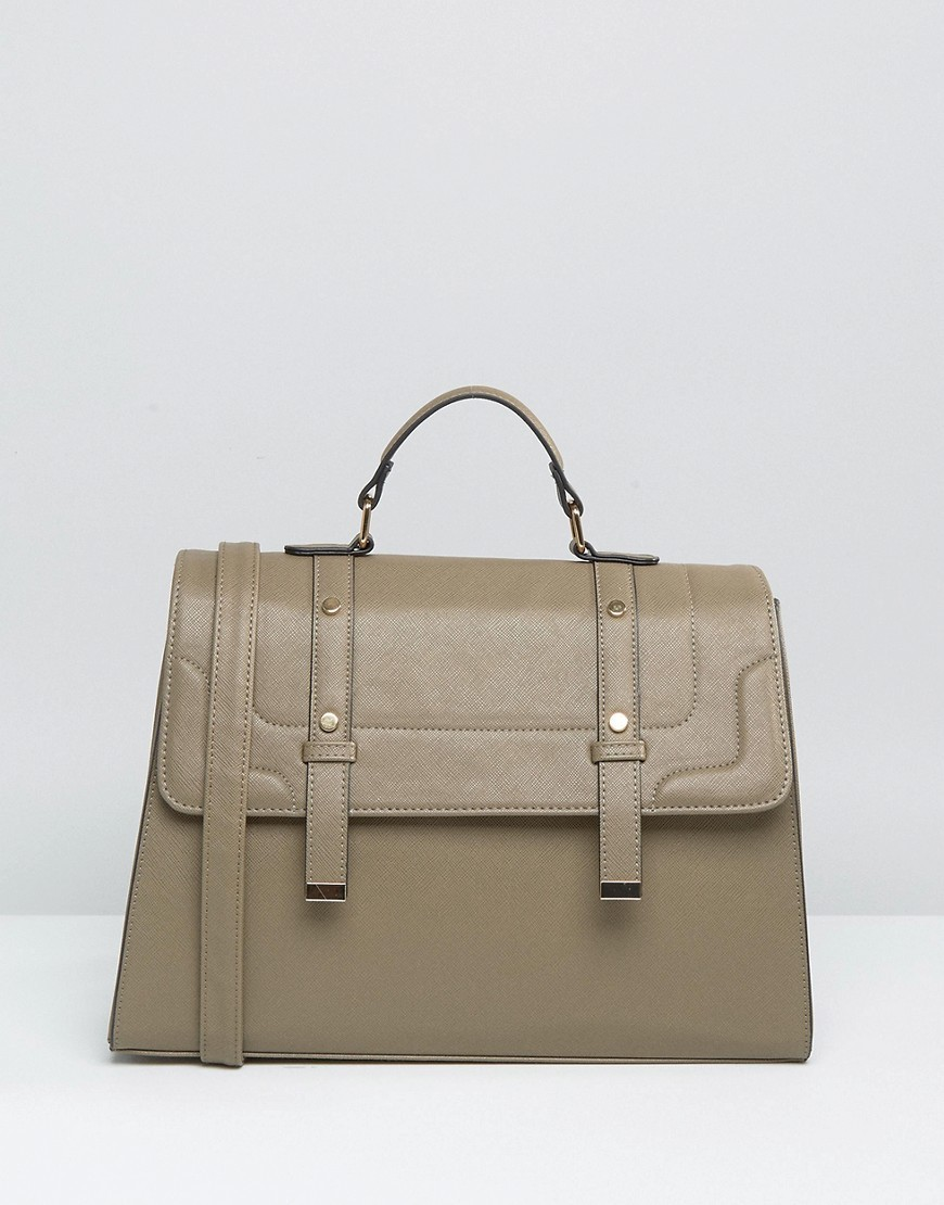 Front Tab Satchel Bag Khaki - predominant colour: khaki; occasions: casual, work, creative work; type of pattern: standard; style: satchel; length: handle; size: standard; material: faux leather; pattern: plain; finish: plain; wardrobe: basic; season: a/w 2016