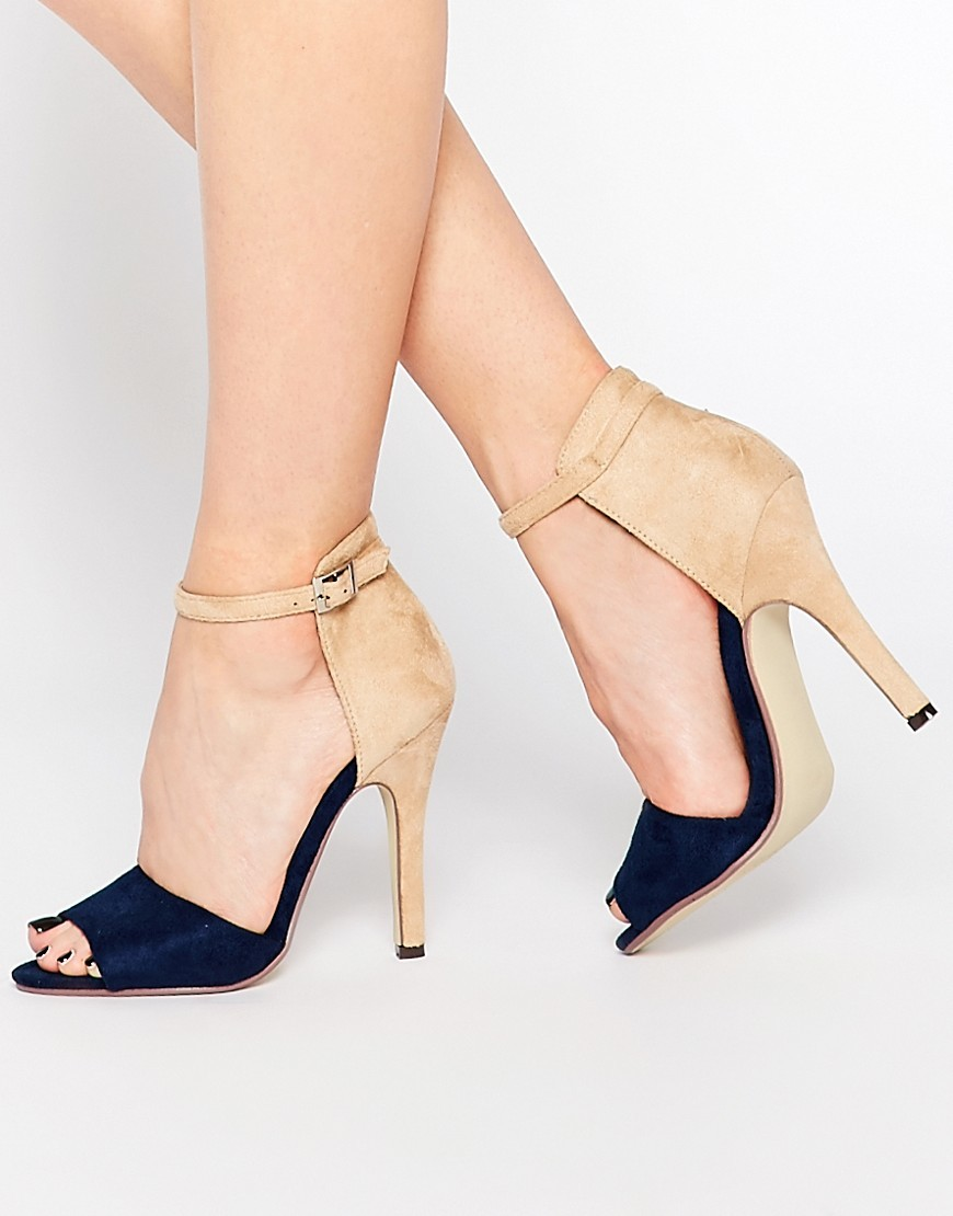 Ankle Strap Heeled Sandals Cream/Navy - secondary colour: nude; predominant colour: black; occasions: evening; material: faux leather; heel height: high; ankle detail: ankle strap; heel: stiletto; toe: open toe/peeptoe; style: standard; finish: plain; pattern: colourblock; multicoloured: multicoloured; season: a/w 2016; wardrobe: event