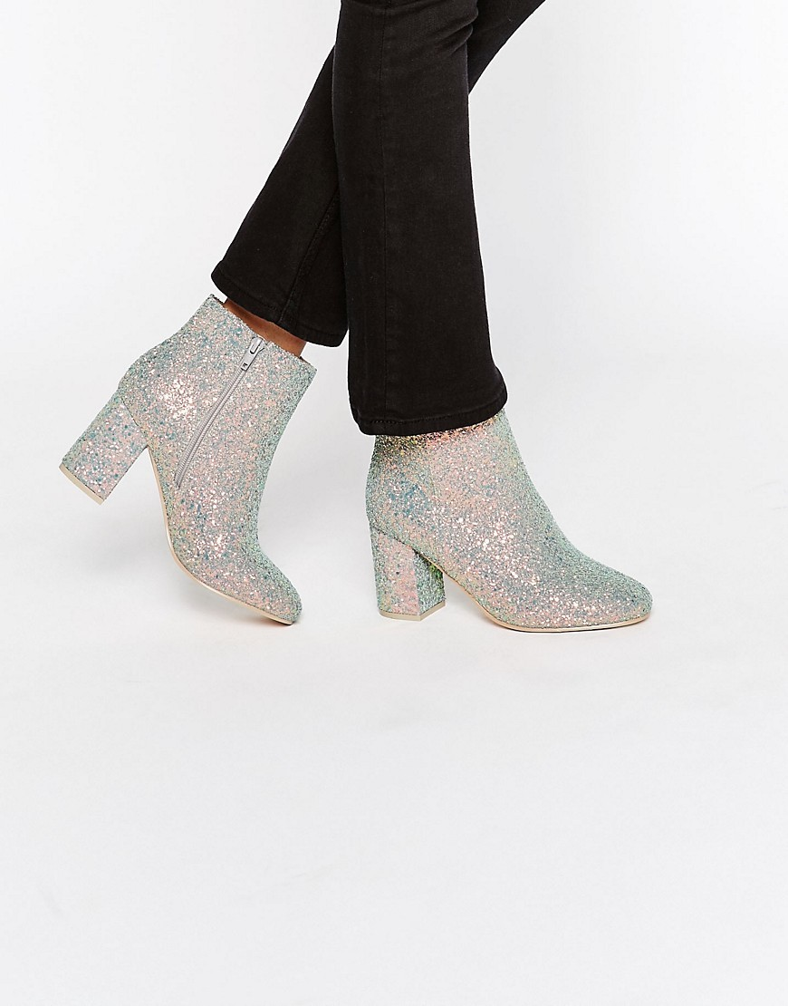 Rosaline Heeled Ankle Boots Rose Gold Glitter - predominant colour: gold; occasions: casual, evening, creative work; material: faux leather; heel height: high; embellishment: glitter; heel: block; toe: round toe; boot length: ankle boot; style: standard; finish: metallic; pattern: plain; season: a/w 2016; wardrobe: highlight