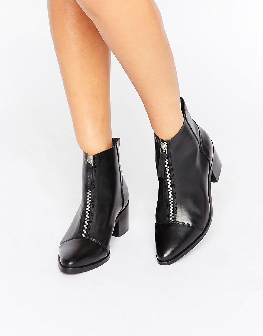 Reph Leather Zip Ankle Boots Black - predominant colour: black; occasions: casual; material: leather; heel height: mid; embellishment: zips; heel: block; toe: pointed toe; boot length: ankle boot; style: standard; finish: patent; pattern: plain; season: a/w 2016