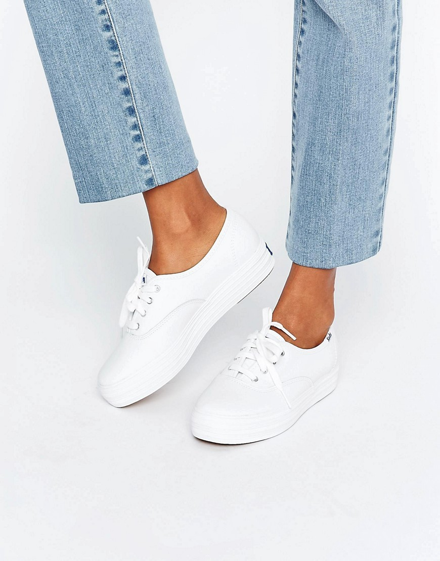 Classic Leather Platform Trainers White - predominant colour: white; occasions: casual; material: leather; heel height: flat; toe: round toe; style: trainers; finish: plain; pattern: plain; wardrobe: basic; season: a/w 2016